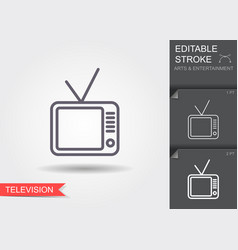 television receiver line icon with shadow and vector image