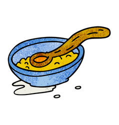 Textured cartoon doodle of a cereal bowl vector