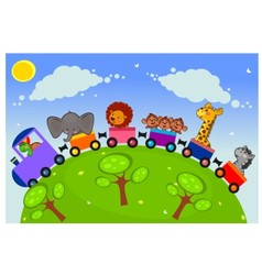 The African animals on a train vector image vector image