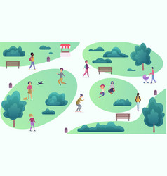 Top cartoon map view of people at park walking and vector