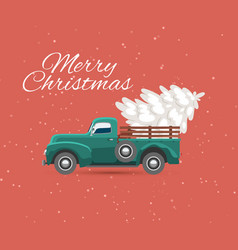 truck carries christmas tree and snow on vintage vector image