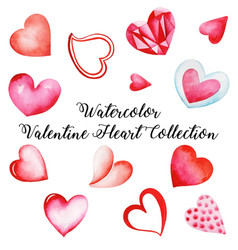 watercolor valentine heart collection vector image