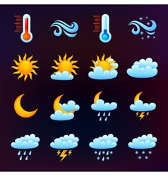 Weather Icon Set Black vector image