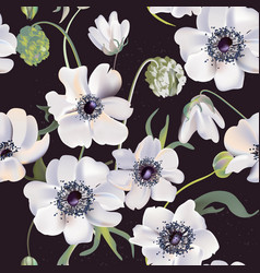 Wedding anemones floral pastel realisitic pattern vector