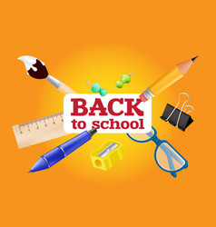 welcome back to school - objects set with pencil vector image