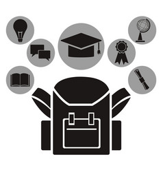 White background with black silhouette of school vector