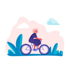 Woman riding bicycles in park female holiday trip vector