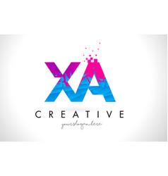 Xa x a letter logo with shattered broken blue vector