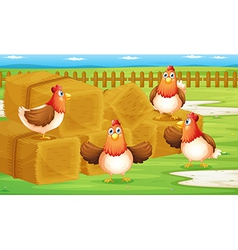 A farm with four hens inside the fence vector image vector image
