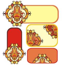 hamsa hand set with ethnic ornaments vector image