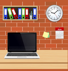 Laptop on designer desktop in modern office vector