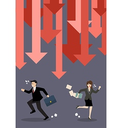 Business people run away from graph down arrows vector image
