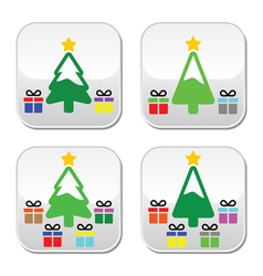 Christmas tree with present buttons set vector image vector image