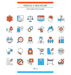 flat line design medical icons 3 vector image vector image