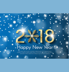 golden new year 2018 concept on blue snow blurry vector image vector image
