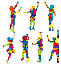 Happy children silhouettes patterned colorful vector image vector image