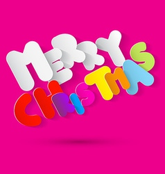 Merry Christmas Paper Colorful Tile on Pink vector image