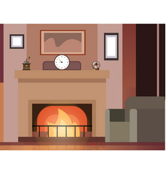 room with fireplace and furniture vector image