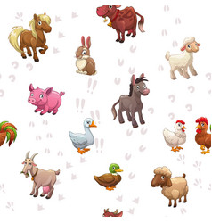 seamless pattern with funny cartoon farm animals vector image vector image