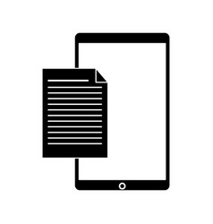 Silhouette mobile phone document file paper vector