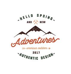 vintage adventure hand drawn label design hello vector image vector image