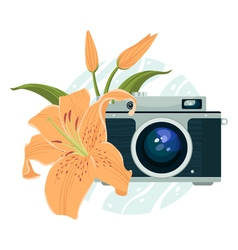 vintage camera and beautiful lily vector image
