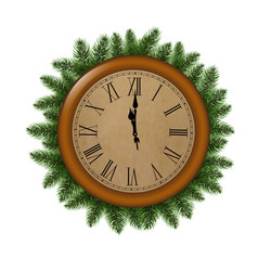 clock with fir tree vector image vector image