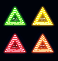 Green yellow red orange neon light triangles set vector