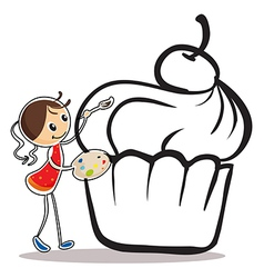 A girl painting the cupcake vector image