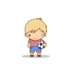 cute cartoon winking little boy with a football in vector image vector image
