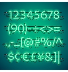 Glowing Neon Green Numbers vector image vector image