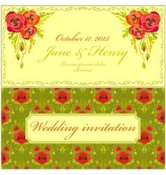 Poppy flower Wedding Invitation Vintage Elegant vector image