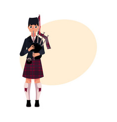 scottish bagpiper piper in national clothes vector image