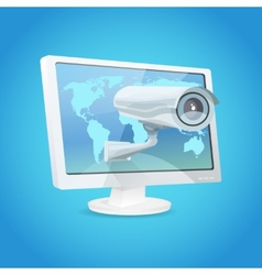 Surveillance Camera And Monitor vector image