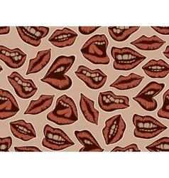 Vintage red lips pattern vector image vector image