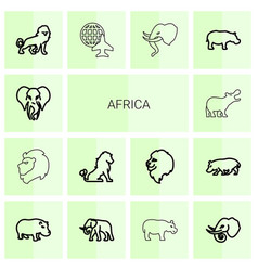 14 africa icons vector