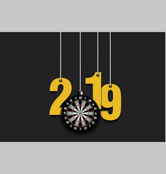 2019 new year and dartboard hanging on strings vector