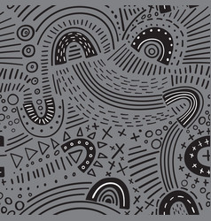 abstract marker black lines seamless pattern vector image