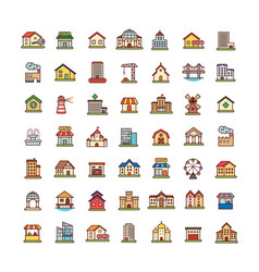 achitecture icons set vector image