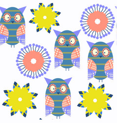 adorable abstract owls vivid seamless pattern it vector image