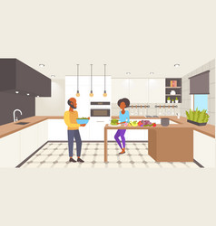 African american couple cooking together woman vector