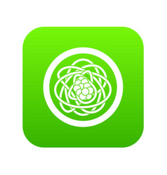 Asian noodles icon digital green vector