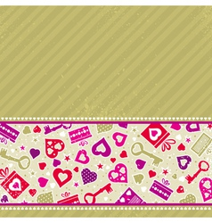 beige valentine background with pink hearts vector image
