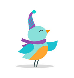 bird with hat and scarf on vector image
