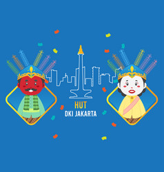 Birthday jakarta greeting card with traditional vector