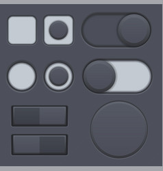 Black interface radio buttons toggle switched vector