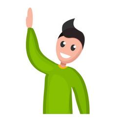 boy hand up icon cartoon style vector image