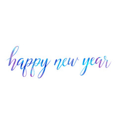 Bright happy new year brush lettering text vector