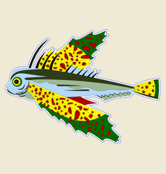 bug-eyed monster fish with large yellow-green fins vector image