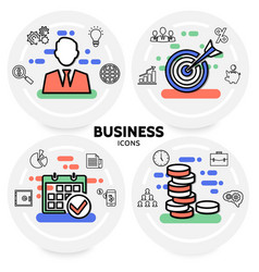 business line icons concept vector image